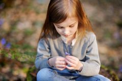Adorable girl picking the first flowers of spring Royalty Free Stock Photo