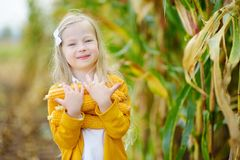 Adorable girl playing in a corn field on beautiful autumn day. Pretty child holding a cob of corn. Harvesting with kids Stock Image