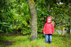 Adorable girl at rainy day in autumn Royalty Free Stock Images