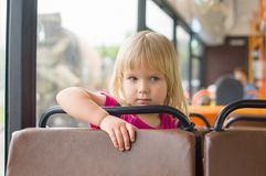 Adorable girl ride bus Royalty Free Stock Photo