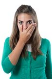 Adorable girl scared. On a over white background stock photos