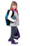 Adorable girl with school equipment Royalty Free Stock Photos