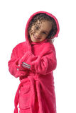 Adorable Girl After Shower. Isolated on White Background royalty free stock photography