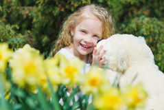 Adorable girl in the spring garden Royalty Free Stock Images