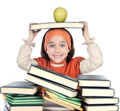 Adorable girl studying. In the school a over white background Royalty Free Stock Image