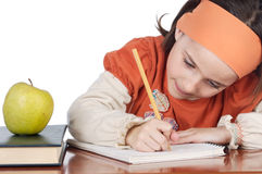 Adorable girl studying Stock Photography