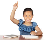 Adorable girl studying. In the school a over white background Stock Image