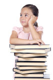 Adorable girl studying. A over white background Royalty Free Stock Photo