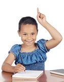 Adorable girl studying. In the school a over white background Royalty Free Stock Images