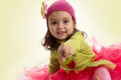 Adorable girl in tutu and hat with butterfly Stock Photos