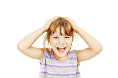 Adorable girl in very bad mood - hysterics Stock Photography