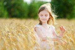 Free Adorable Girl Walking Happily In Wheat Field Stock Photos - 49733883