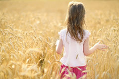 Adorable girl walking happily in wheat field Stock Photo