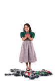 Adorable girl wearing a green Christmas holiday Stock Image
