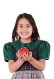 Adorable girl wearing a green Christmas holiday Stock Photos