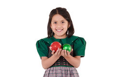 Adorable girl wearing a green Christmas holiday Royalty Free Stock Photo
