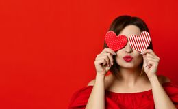 Free Adorable Girl With Valentine`s Day Heart Showing Love Fun Affection Portrait Royalty Free Stock Images - 136556469