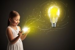Girl holding tablet with new idea concept stock image