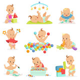 Adorable Girly Cartoon Babies Playing With Their Stuffed Toys And Development Tools Series Of Cute Happy Infants Royalty Free Stock Image