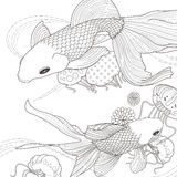 Adorable golden fish coloring page. In exquisite style Stock Photography