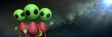 Three cute little alien cartoon characters in front of the Milky Way galaxy 3d illustration background banner Stock Photo