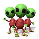 Group of cute little alien cartoon character watching, visitors form outer space 3d illustration,  on white background. Adorable green extraterrestrials with red Royalty Free Stock Image