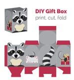 Adorable hágalo usted mismo caja de regalo del mapache con los oídos para los dulces, caramelos, pequeños presentes Ilustración del Vector