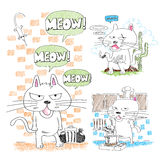 Adorable hand-drawn cats Stock Photos