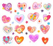Set of fun and colorful heart. An adorable hand painted design, perfect for Valentine`s Day. Lots of girly colors and fun details. Check my other assorted Stock Photos