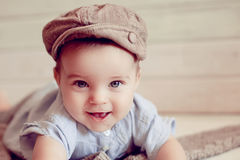 Adorable happy baby boy in a bright room Royalty Free Stock Photography