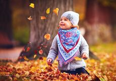 Adorable happy baby girl catching the fallen leaves, playing in the autumn park Royalty Free Stock Photography