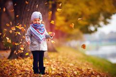 Adorable happy baby girl catching the fallen leaves, playing in the autumn park Royalty Free Stock Images