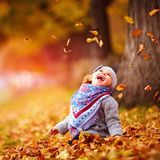 Adorable happy baby girl catching the fallen leaves, playing in. Cute happy baby girl catching the fallen leaves, playing in the autumn park royalty free stock image