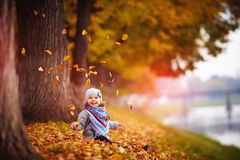 Adorable happy baby girl throwing the fallen leaves up, playing in the autumn park Stock Photo