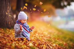 Adorable happy baby girl throwing the fallen leaves up, playing in the autumn park Royalty Free Stock Images