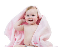 Adorable happy baby girl in towel Stock Photo