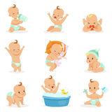 Adorable Happy Baby And His Daily Routine Series Of Cute Cartoon Infancy And Infant Illustrations. Adorable Happy Baby And His Daily Routine Set Of Cute Cartoon Stock Images