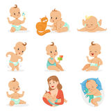 Adorable Happy Baby And His Daily Routine Set Of Cute Cartoon Infancy And Infant Illustrations Stock Photo