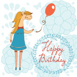 Adorable Happy birthday card with beautiful horse Royalty Free Stock Images