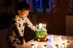 Adorable happy blond little kid boy celebrating his birthday. Child blowing candles on homemade baked cake, indoor. Birthday party for school children, family royalty free stock photo