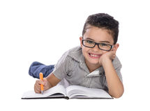 Adorable Happy Boy Writing Stock Image