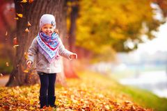 Adorable happy girl playing with fallen leaves in autumn park Stock Images