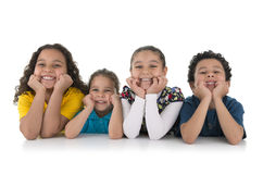 Adorable Happy Kids. Group of Adorable Happy Kids Isolated on White Background Stock Photography