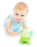 Adorable happy little baby girl playing Stock Photos