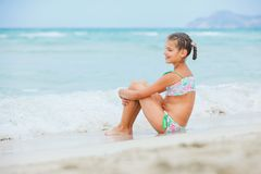 Adorable happy little girl on beach vacation Royalty Free Stock Images