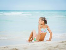 Adorable happy little girl on beach vacation Royalty Free Stock Photos