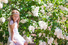 Adorable happy little girl in flower blossoming Stock Photos