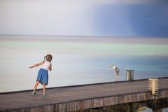 Adorable happy little girl with Grey heron on Stock Photos