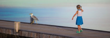 Adorable happy little girl with Grey heron on Royalty Free Stock Photo