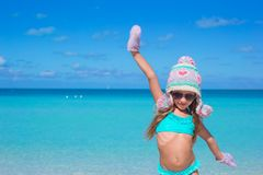 Adorable happy little girl having fun on tropical Royalty Free Stock Photography